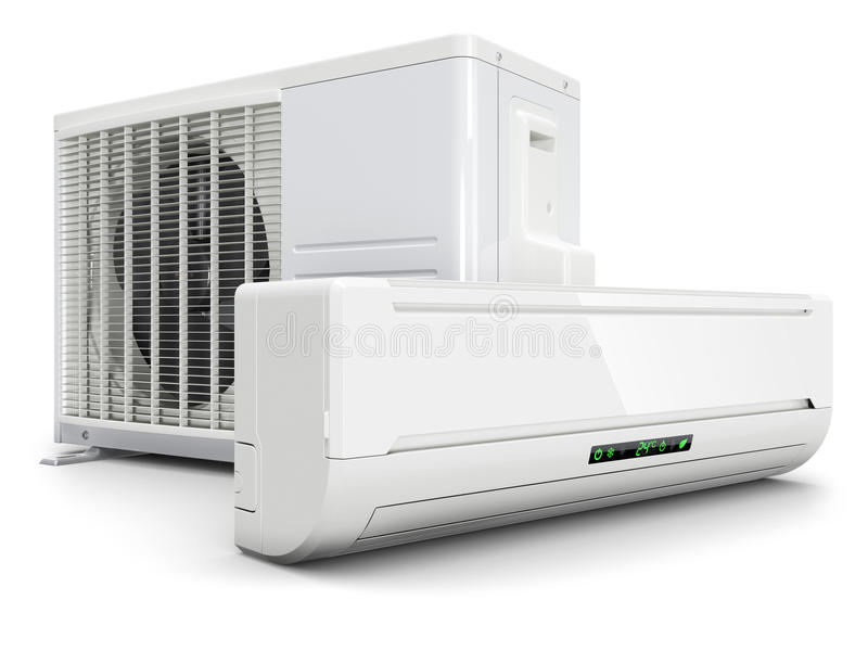 Air conditioning split system. On white background 3d royalty free illustration