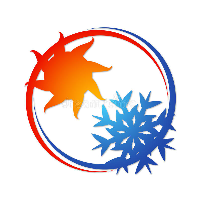 Air conditioning symbol. For business, sun and snowflake royalty free illustration