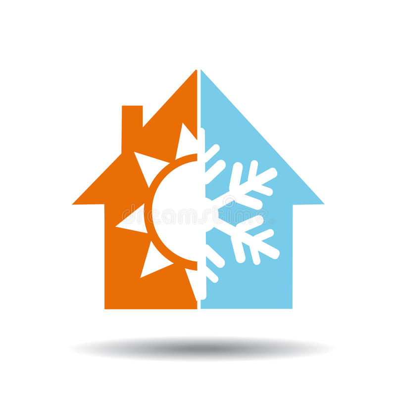 Air conditioning symbol - warm and cold in home. Vector royalty free illustration