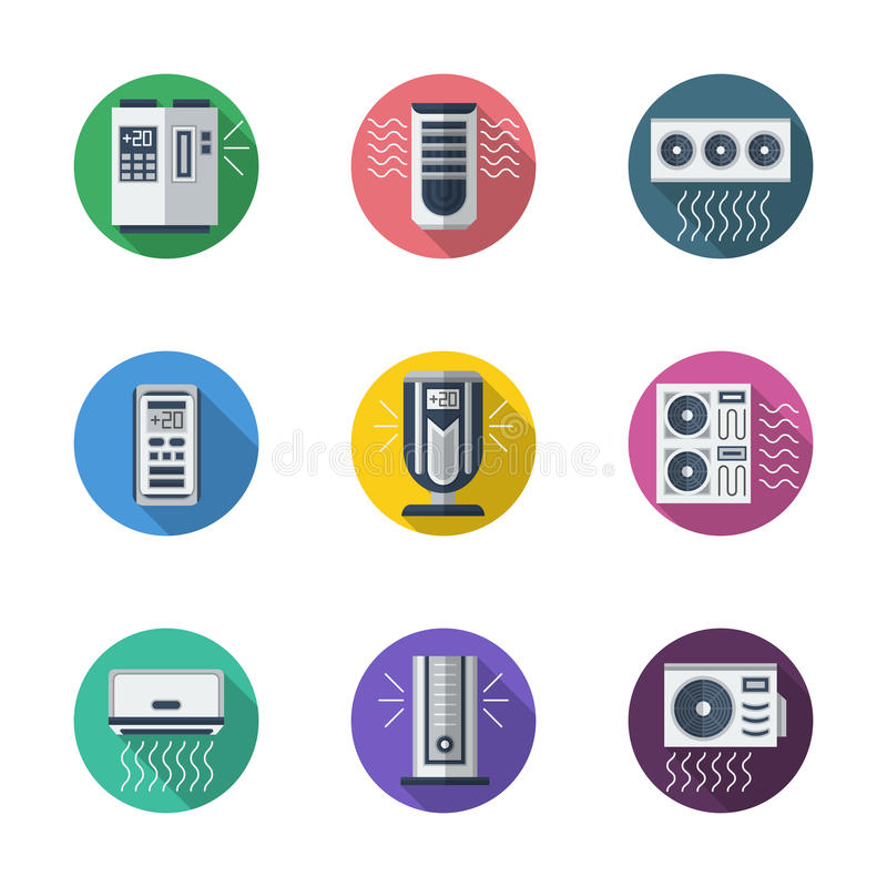 Air conditioning system round flat icons vector illustration