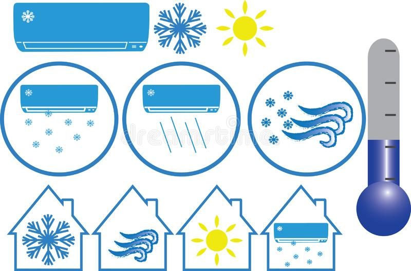 Air conditioning  icons for print or web pages. The illustration express cold, heat, wind for house vector illustration