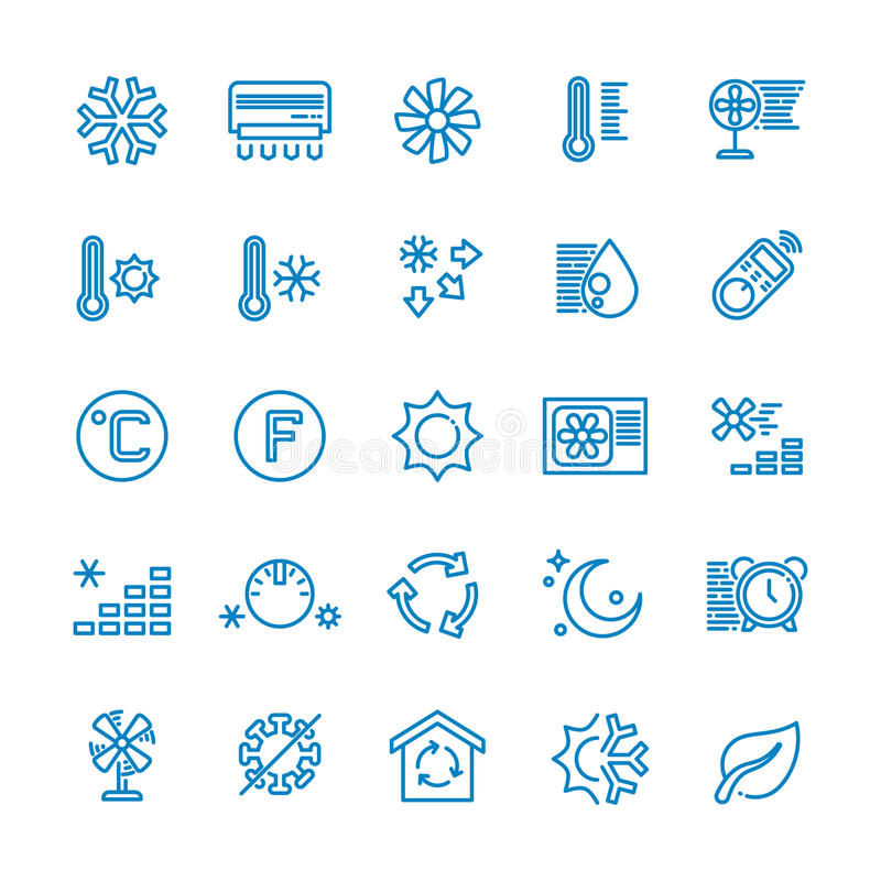 Air conditioning vector line icons. Temperature, humidity, drying, cooling and heating pictograms. Climate conditioner system equipment illustration royalty free illustration