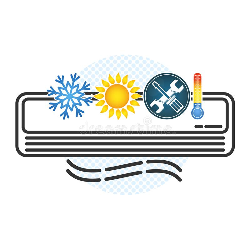Air conditioning and ventilation symbol. Air conditioning and ventilation concept for building vector royalty free illustration