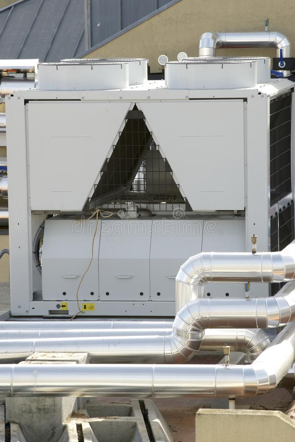 Air conditioning. View of a huge group of air conditioning on a roof stock photo