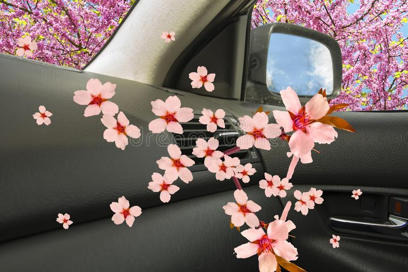 Air conductors car freshenera ac aroma. Flowers background stock image