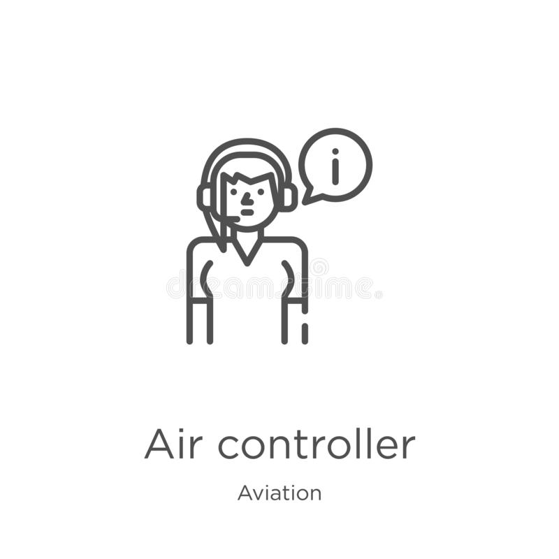 Air controller icon vector from aviation collection. Thin line air controller outline icon vector illustration. Outline, thin line. Air controller icon. Element stock illustration