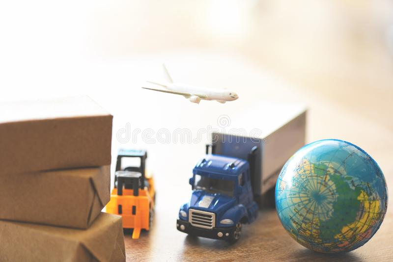Air courier cargo plane boxes packaging freight forwarder to worldwid - Logistics transport import export shipping service royalty free stock photography