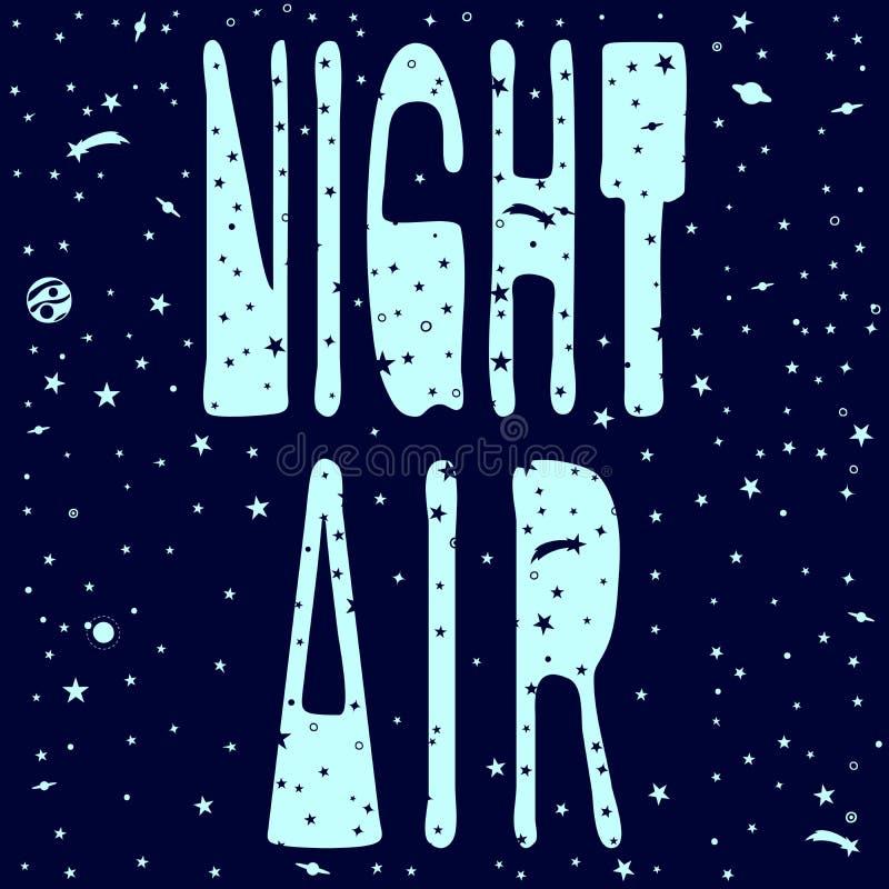 Air de la nuit d'inscription dans l'espace peint illustration stock