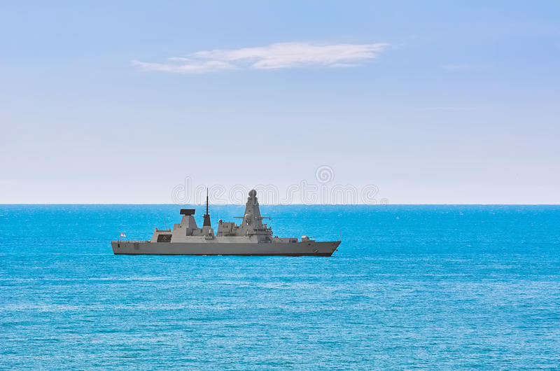 Air-defence Destroyer in the Sea. Air-defence Destroyer in the Black Sea stock photos
