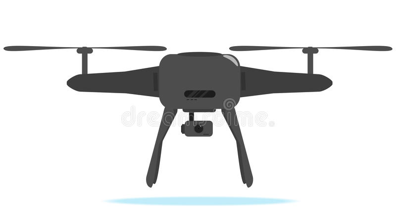 Air drone with camera - photo and video black drone icon. stock image