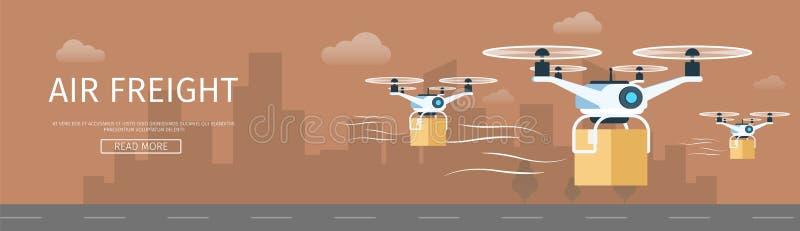 Air Drone Delivering Parcel. Supply Service Banner vector illustration