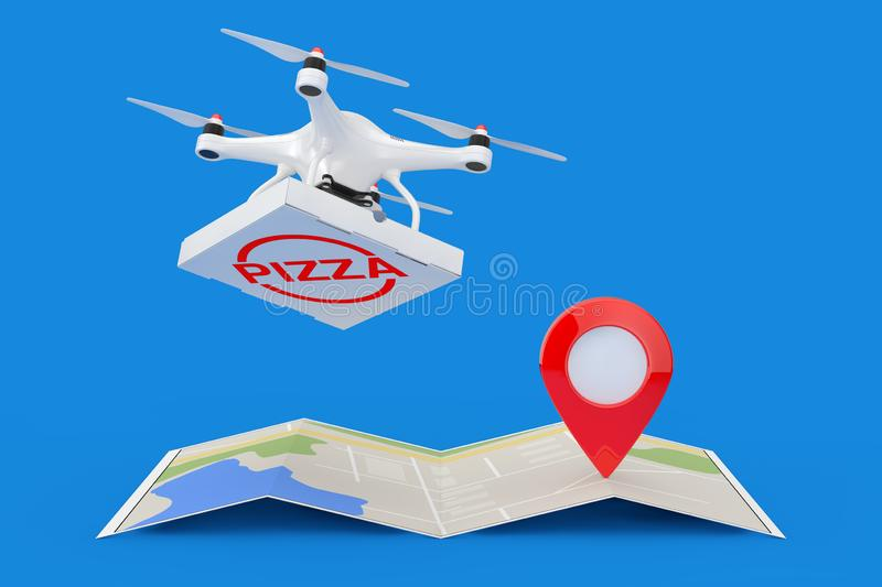 Air Drone Delivering Pizza Boxover Folded Abstract Navigation Map with Map Pointer Narget Pin. 3d Rendering vector illustration