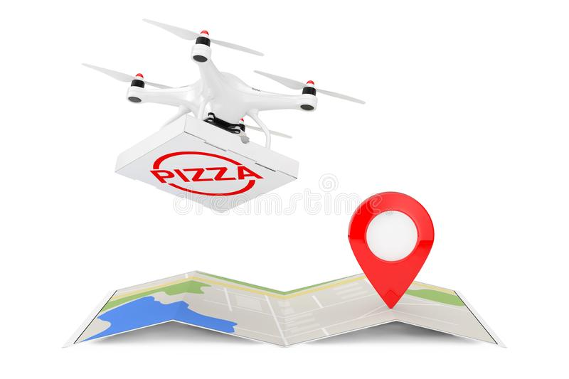 Air Drone Delivering Pizza Boxover Folded Abstract Navigation Map with Map Pointer Narget Pin. 3d Rendering. Air Drone Delivering Pizza Boxover Folded Abstract vector illustration