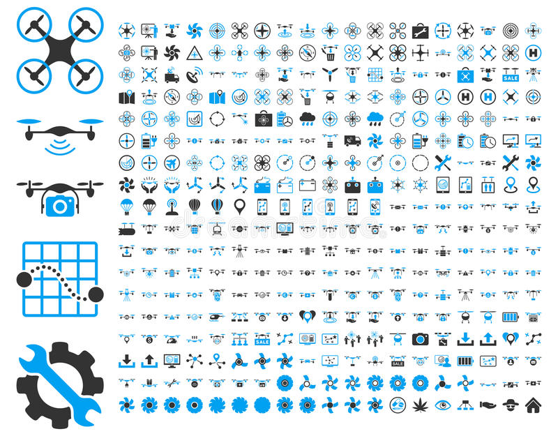 Air drones and quadcopter tools icons. 365 air drone and quadcopter tool icons. Icon set style: flat vector bicolor images, blue and gray symbols, on a white