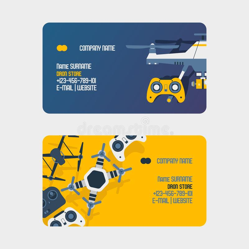 Air drones, quadrocopters and remote control drones business card wireless flight aerial robot vector illustration. Fly royalty free illustration
