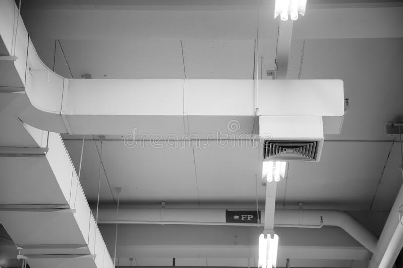 Air Duct, Air pipe in Canteen. Air Duct, Air pipe in Canteen, Danger and the cause of pneumonia in office man stock images