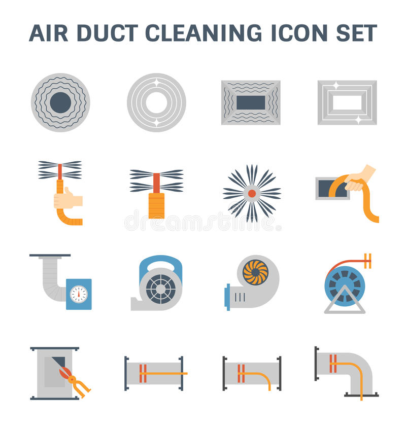 Air duct cleaning. Air duct pipe cleaning vector icon set vector illustration