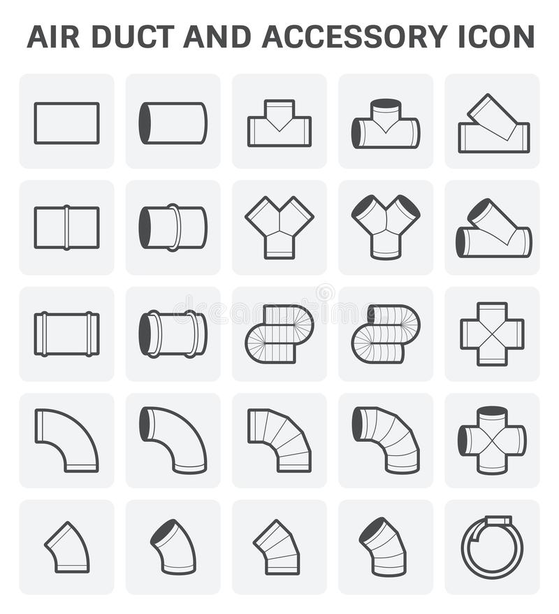 Air Duct Icon. Vector icon of air duct and accessory for air conditioning or HVAC system stock illustration
