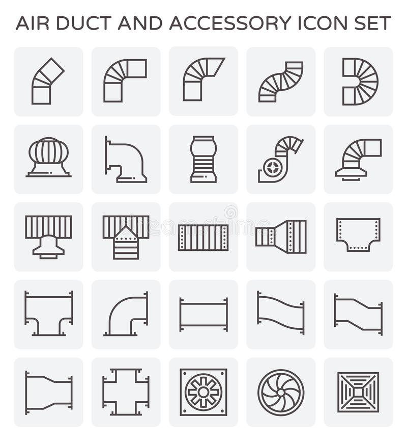 Air duct icon. Air duct and sccessory icon set vector illustration