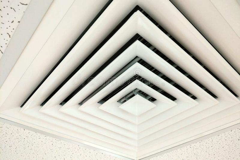 Air duct in square shape, Duct for conditioning heating on a building ceiling stock photos