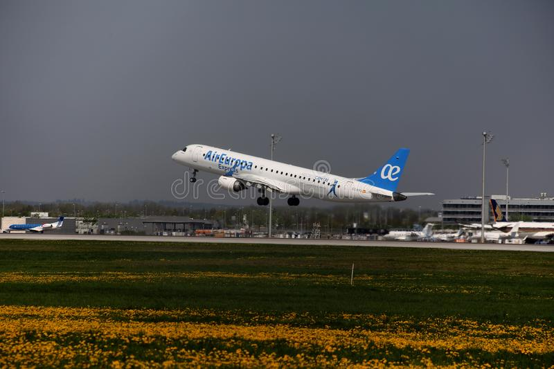 Air Europa Express Embraer jet taking off from Munich Airport, MUC stock photography