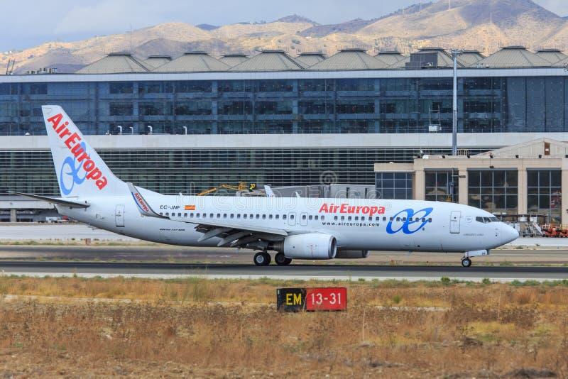 Air Europa jorra taxiing em Malaga foto de stock royalty free