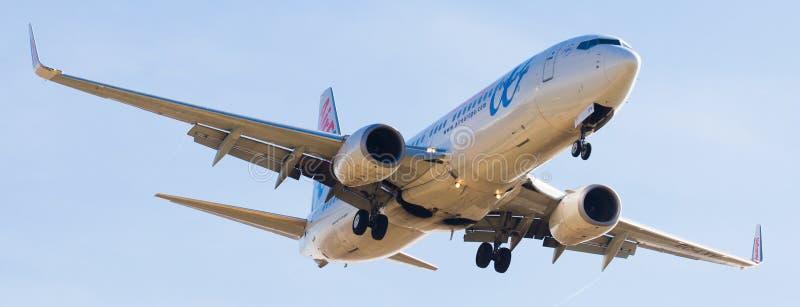 Air Europa samolotu lądowanie fotografia stock