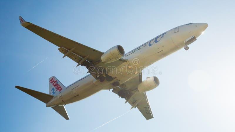 Air Europa samolotu lądowanie fotografia royalty free