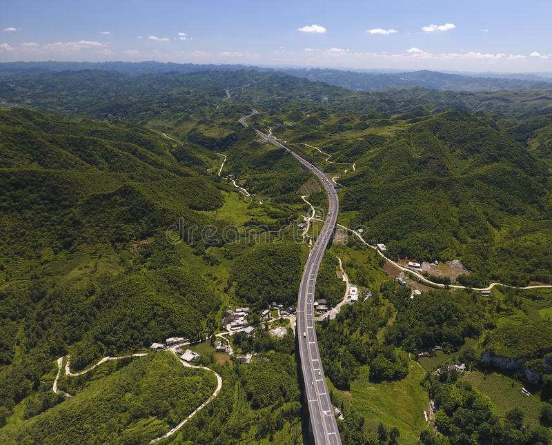 From the air, the  expressway in Guizhou. Is photographed, and the scenery is very beautiful royalty free stock photos