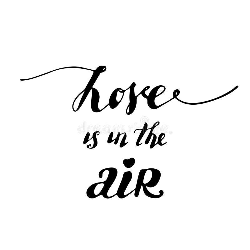 air förälskelse Vektorbokstäver, kalligrafidesign Romantiskt inspirerande citationstecken Typografi för valentindag vektor illustrationer