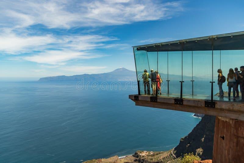 In the air. A fascinating view of Tenerife from La Gomera. Mirador de Abrante royalty free stock photos