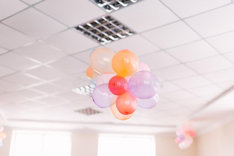 Air festive balls in the office. Concept of the party stock photography