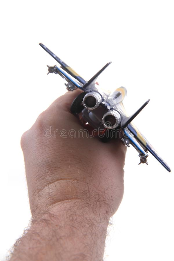 Air fighter toy in human head stock photos