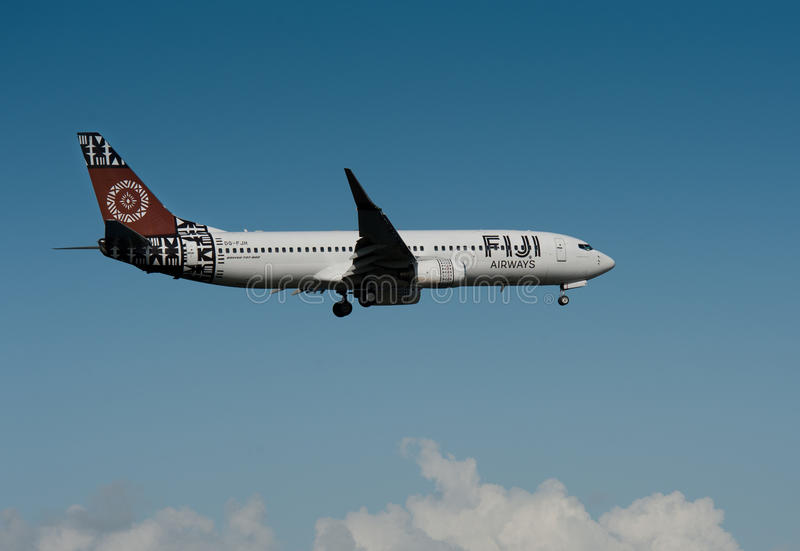 Air Fiji Boeing 737-800. MS Fiji Airways Boeing Airliner 737-800 Coming in to land at Auckland International Airport stock image