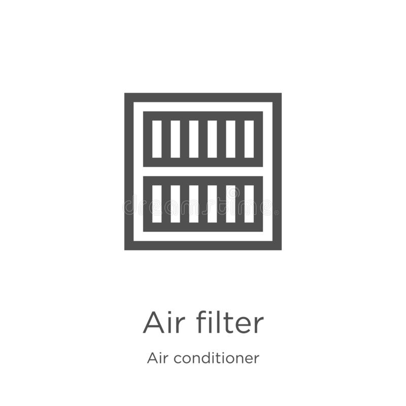 Air filter icon vector from air conditioner collection. Thin line air filter outline icon vector illustration. Outline, thin line. Air filter icon. Element of stock illustration