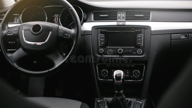 The air flow inside the car. Detail audio system buttons in car. royalty free stock photos