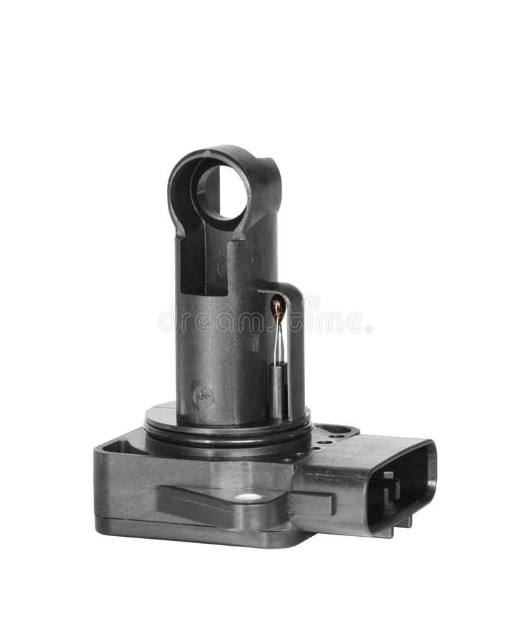 Air flow sensor. Mass air flow sensor isolated on white background royalty free stock photo