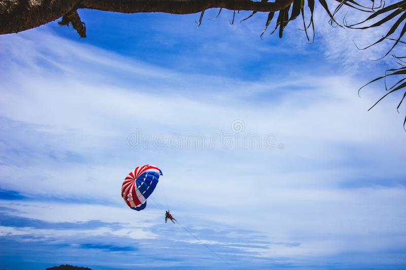 In the air flying across the sea over the tourist beaches of Phuket stock image