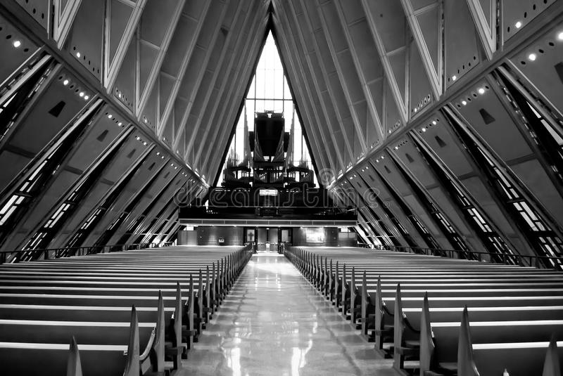 Air Force Academy Cadet Chapel. In Colorado Springs in Black and White royalty free stock photo