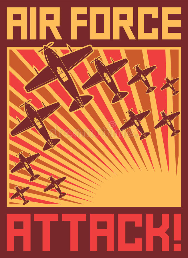 Air force attack poster stock illustration