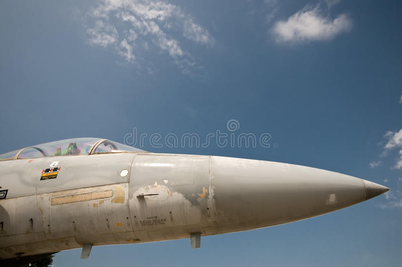 Air Force Jet. Closeup of Air Force Jet in front of a blue sky royalty free stock photos
