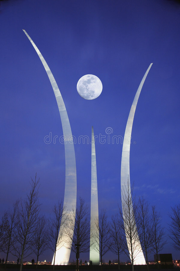 Air Force Memorial at Night. Air Force Memorial at dusk with moon in background stock photography
