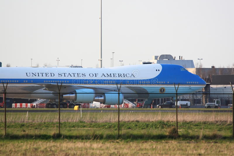 Air Force One achter omheining stock fotografie