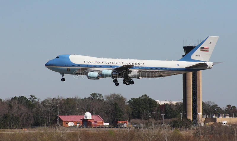 Air Force One arrives in Charleston, SC. Air Force One carrying President Donald J. Trump arrives in Charleston, SC. February 2017 royalty free stock photography