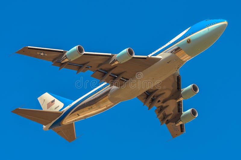 Air Force One bierze daleko od Madryt obraz royalty free