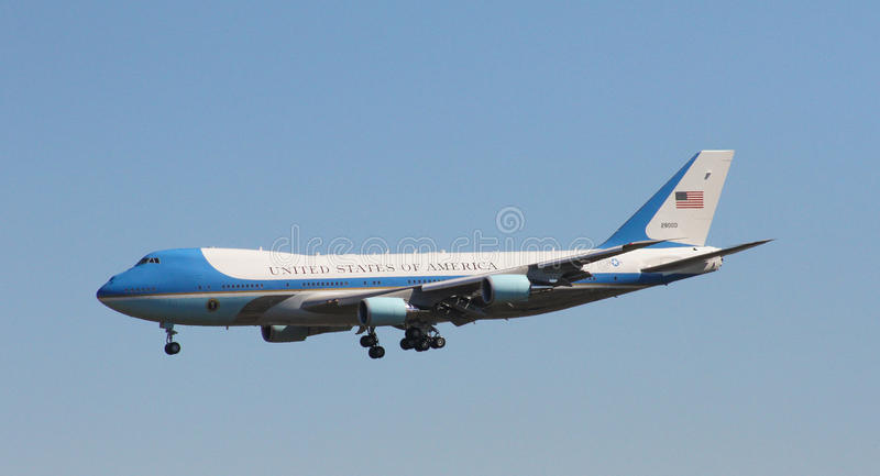 Air Force One. Carrying President Donald J. Trump arrives in Charleston, SC. February 2017 royalty free stock photo
