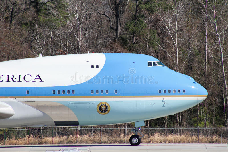 Air Force One. Carrying President Donald J. Trump arrives in Charleston, SC. February 2017 stock photos