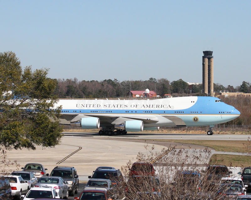 Air Force One. Carrying President Donald J. Trump arrives in Charleston, SC. February 2017 stock photography