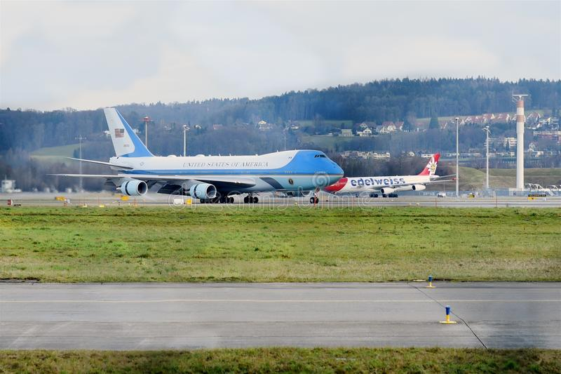 Air Force One at ZRH royalty free stock photo