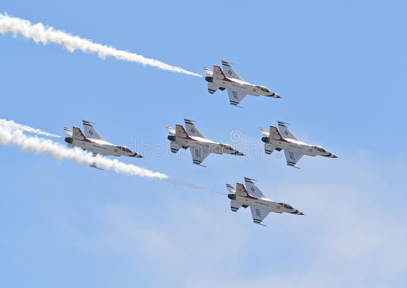 Air Force Thunderbirds in flight stock photography